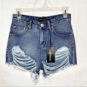 PLT High Waist Mom Distressed Denim Shorts 4
